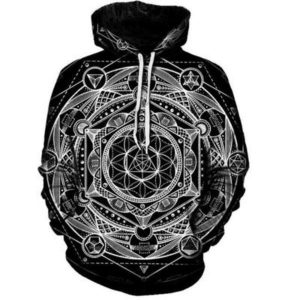 Blueprint Of The Universe Sacred Geometry Printed Hoodie