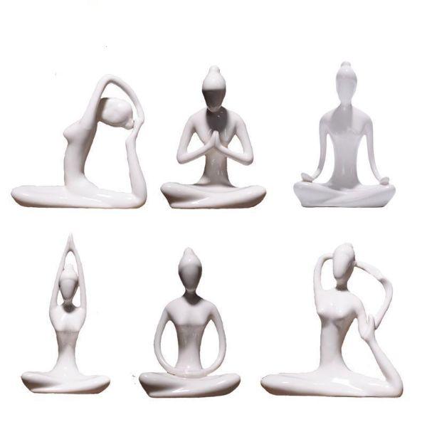 Miniature Ceramic Yoga Lady Figurines