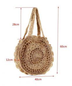 Handmade Mandala Knitted Straw Bag