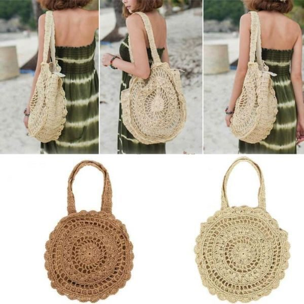 Handmade Mandala Knitted Straw Bag