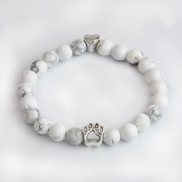 Heart Dog Paw Natural Beads Bracelet