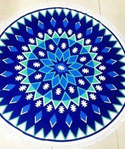 mandala Round blue Beach Towel