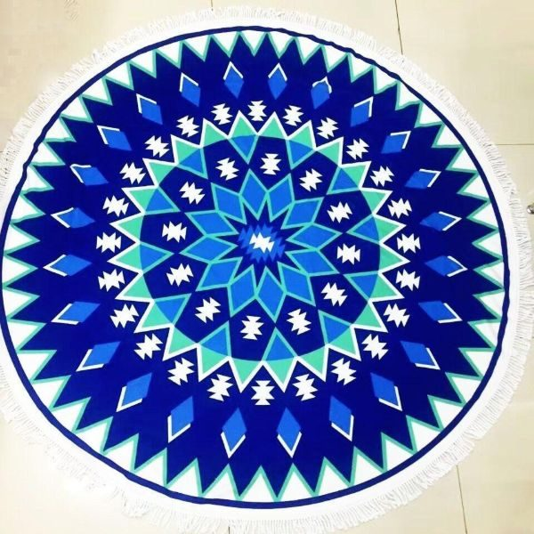 mandala Round blue Beach Towel