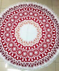 Round red Beach Towel