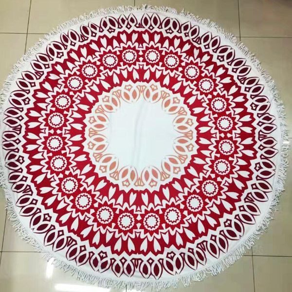 Round red Beach Towel