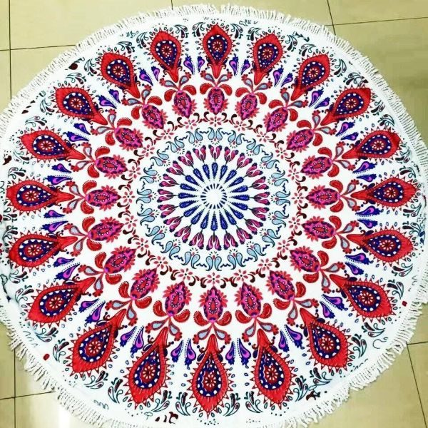 Microfiber Round red peacock beach Towel
