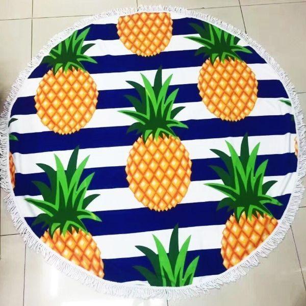 Round Mandala Microfiber ananas Beach Towel