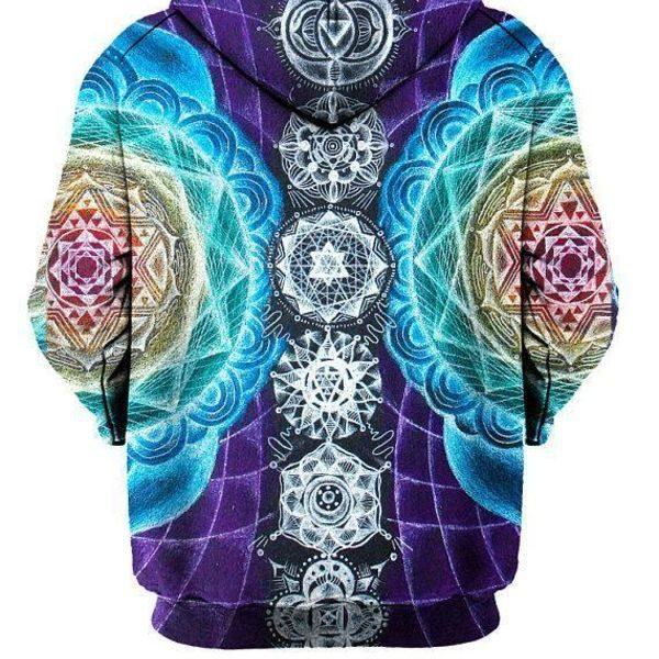 Visionary Mandala Chakra Design Printed Hoodie