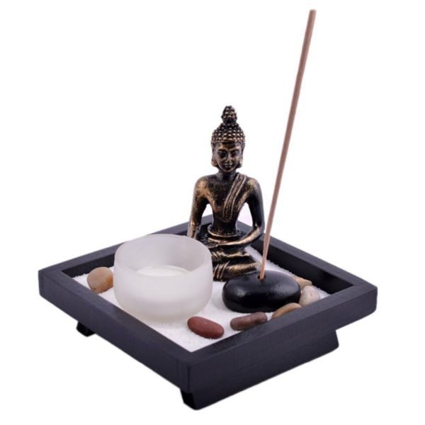 Zen Buddha Tealight Candle and Rock Incense Holder with FREE Incense