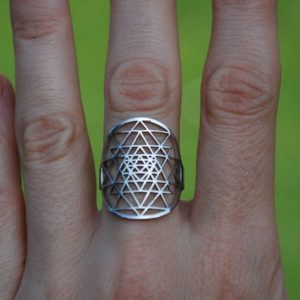 Adjustable Silver Sri Yantra Ring