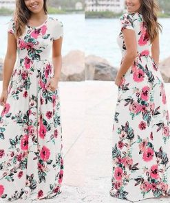White Boho Floral Dress