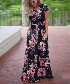 Black Plus Size Floral Maxi Dress