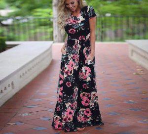 Black Plus Size Floral Maxi Dress