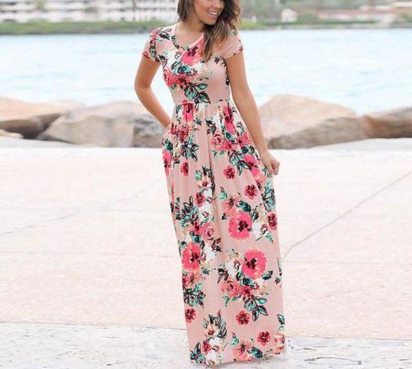 Pink Boho Floral Dress