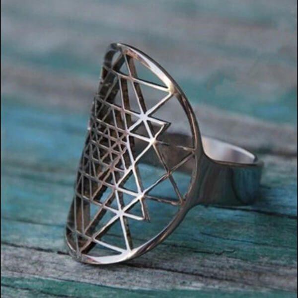 Silver Sri Yantra Ring