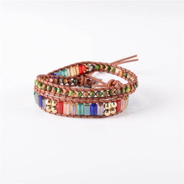 Chakra Crystal Leather Wrap Bracelet