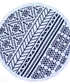 Black Geometric Beach Towel