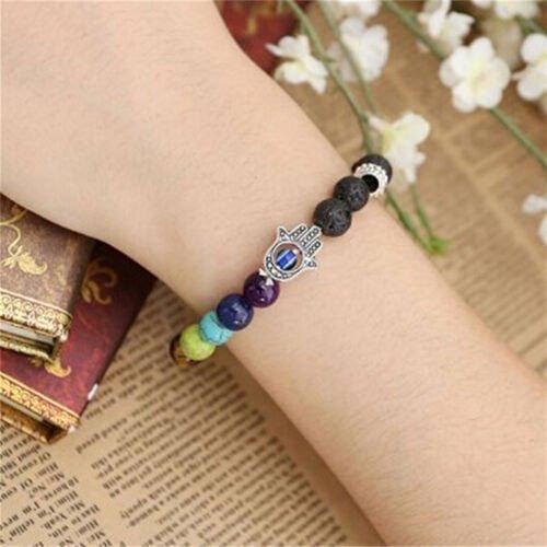 Hamsa Lava Stones Bracelet