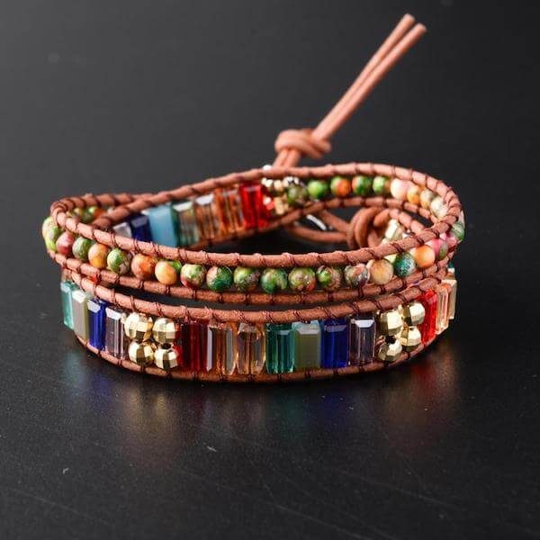 Rainbow Crystal Leather Wrap Bracelet