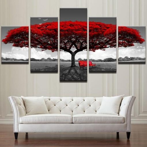 Romantic Tree 5 Piece Canvas Art
