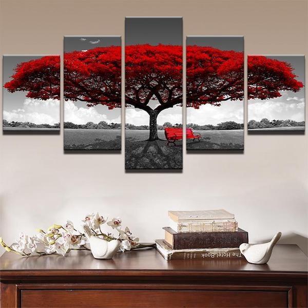 Autumn Tree 5 Piece Canvas Art