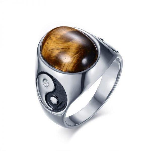 Yin Yang Tiger's Eye Stone Ring