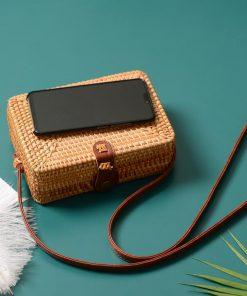 Boho Rattan Straw Handbag