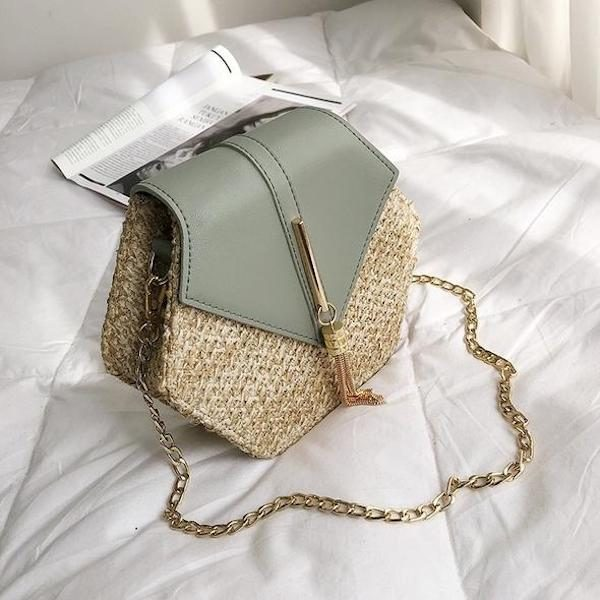 Hex Boho Rattan Straw Bag
