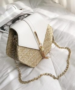 White Boho Rattan Straw Bag