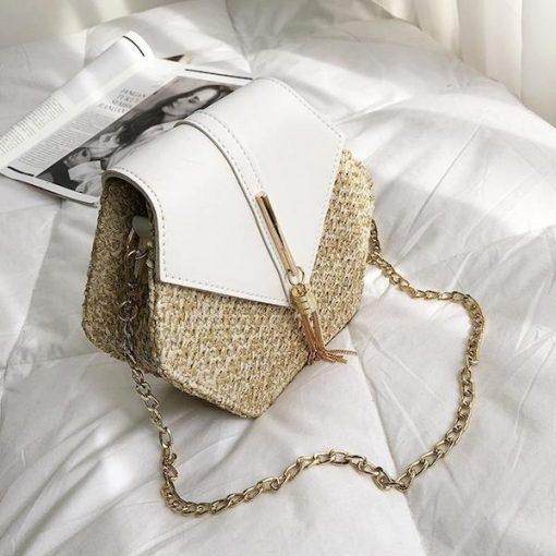 White Boho Rattan Straw Bag