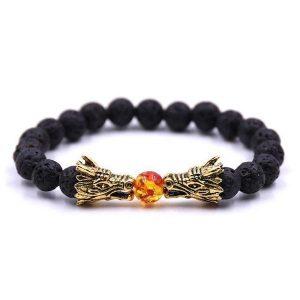 Dragon Fire Ball Beads Bracelet Black