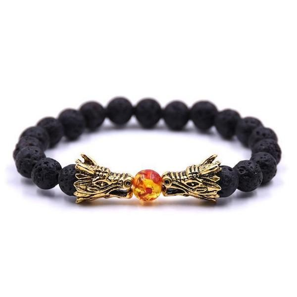 Dragon Fire Ball Beads Bracelet Black
