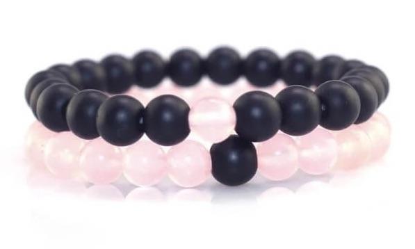 Pink And Black Distance Bracelets