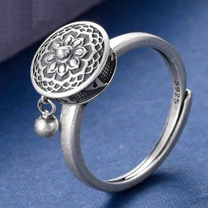 925 Sterling Silver Spinning Buddhist Mantra Ring