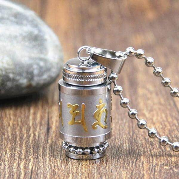 Large Silver Tibetan Stainless Steel Prayer Wheel Necklace