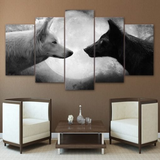 Black Wolf White Wolf Moon Painting Canvas Wall Art