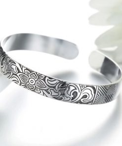 Silver Lotus Flower Bangle