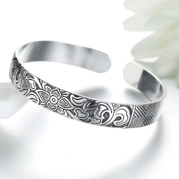 Sterling Silver Lotus Flower Bangle Bracelet for Women & Men