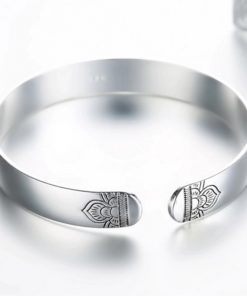 Sterling Silver Lotus Cuf Bangle Bracelet