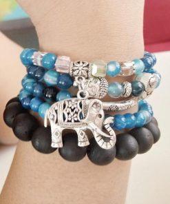 Natural Blue Tourmaline Buddha and Elephant Charm Wrap Bracelet