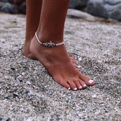 beach anklet starfish silver ocean