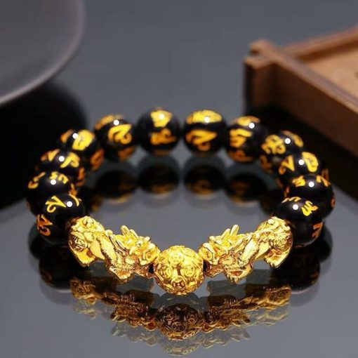 Feng Shui Pixiu Black Obsidian Bracelet